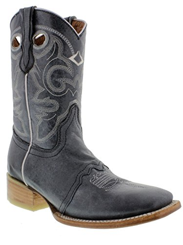 Cowboy Professional Womens Denim Blue Mid Calf Pull On Cowboy Boots Square Denim Blue aWmbBz5
