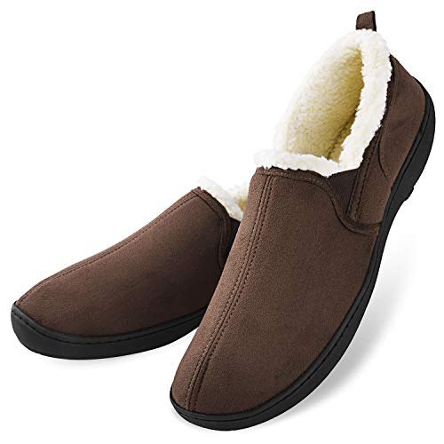 Men's Casual Memory Foam Comfortable Moccasin Slippers House Shoes Indoor/Outdoor Anti-Slip Rubber Sole