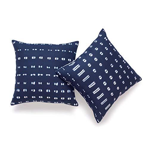 Mudcloth Print - Hofdeco African Mudcloth Pillow Cover ONLY, Indigo Shibori Inspired Print, 18