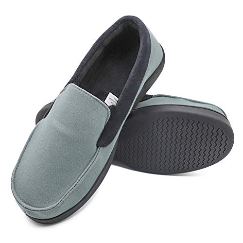Mwfus Men's Comfy Velvet Cotton Moccasin Slippers with Memory Foam Breathable House Shoes Anti-Skid Indoor/Outdoor (10, Canvas Upper, Navy Grey) (Best Memory Foam Slippers)