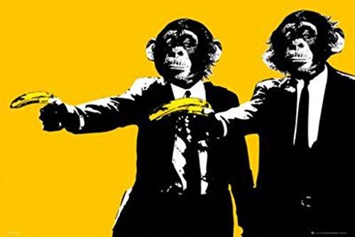 (Monkeys Banana Guns Art Print Poster 36x24)