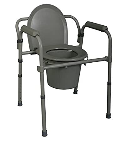 Amazon.com: Medline MDS89664 3-in-1 Steel Bedside Commode: Health ...