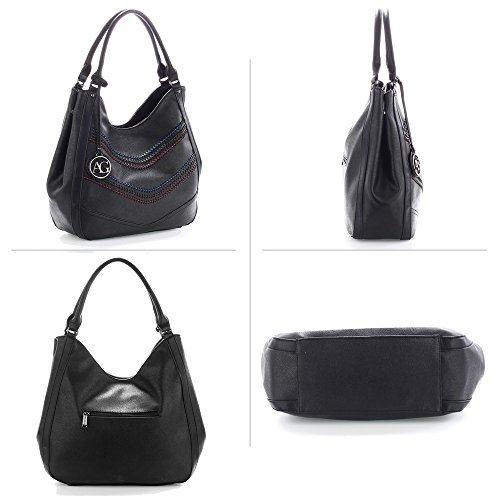 Handbag Large Leather Design Black 2 Designer XL Women 3 Tote Shoulder Compartment bags Faux Extra Ladies XfqEO