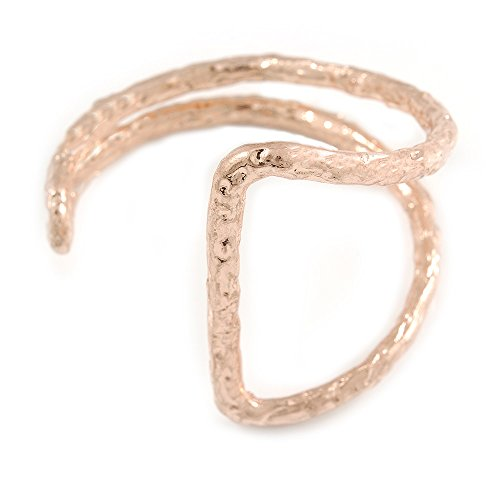 - Avalaya Geometric Open Hammered Cuff Bangle Bracelet in Rose Gold Tone - 20cm L/Large