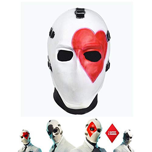 Vercico Square Poker Face Mask Carnival Christmas Halloween New Year Easter Theme Party Head Mask (Heart)