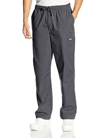 Cherokee Men's Ww Drawstring Cargo Scrub Pant, Pewter, Small / Short - Elastic Cargo Scrub Pants