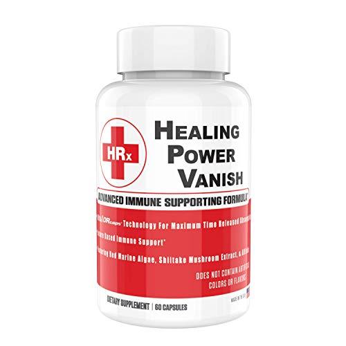 Healing Power Vanish HPV Immune Support Supplements 1450mg - Premium Shiitake Mushroom Capsules - Pure Shiitake Mushroom Extract & Red Marine Algae Supplements - Immune System Booster - 60 Capsules (Kinoko Platinum Ahcc 750 Mg)
