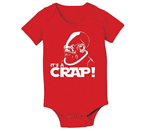 It's A Crap Trap Admiral Ackbar Funny Geek Nerd Nerdy Sci-Fi Humor Baby One Piece Newborn Red