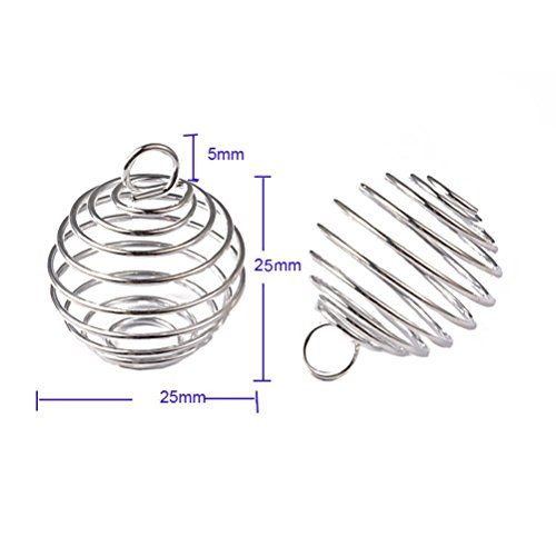 Honbay 25Pcs Spiral Bead Cage Charms Pendants Findings for Max 18mm Beads (Silver)