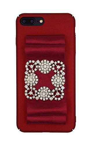 (Designer logo luxury elegant fashion ribbon rihnestones shiny fabric glitter Prom Wedding Case for iPhone 7 Plus (5.5) Red)