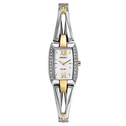 Seiko Women's SUP084 Two Tone Stainless Steel Analog Watch with White Dial Watch (Polished White Dial)