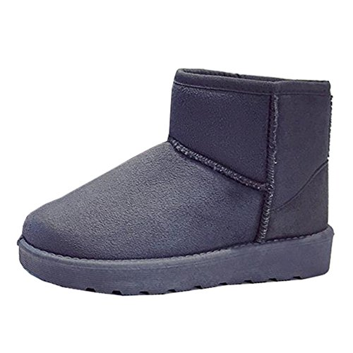 Mashiaoyi Women's Round-Toe Flat Slip-on Suede Snow Boots Gray