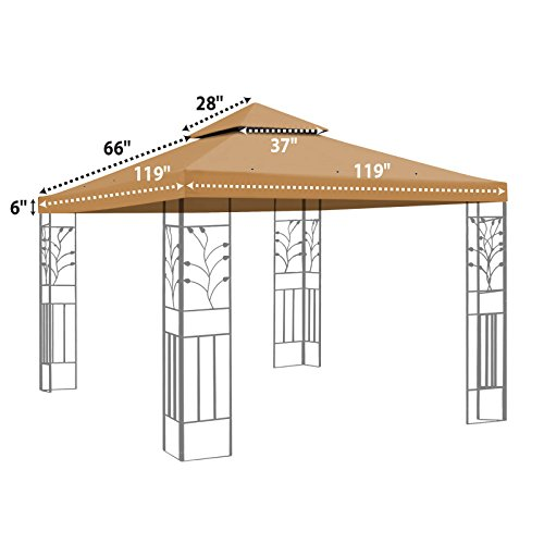 BenefitUSA 10'X10' Replacement Gazebo Top Canopy Patio Pavilion Cover Sunshade Plyester Double Tier -TAN by BenefitUSA (Image #1)