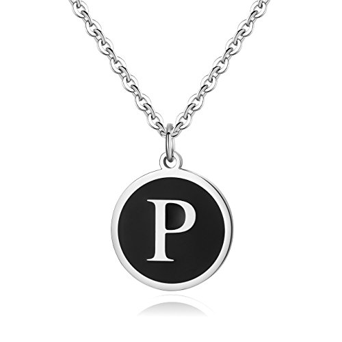REVEMCN Stainless Steel Alphabet and Bible Verse Proverbs 4:23 Pendant Necklace for Men Women with Keyring and 22'' Chain (Silver-Tone: P)