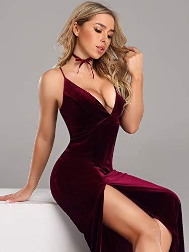 Bordeaux pretty Femme En Longue De 07180 Soirée Robe Ever B Moulante Veulours PfAq8Pdxn