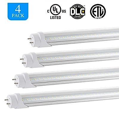 HOMIFORCE Clear 4 Packs T8 LED Shop Light Tube - 4 Foot 48W Equal LED Garage Lights - 5000K G13 Lighting Fixtures