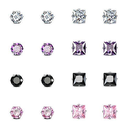 JewelrieShop Stainless Steel CZ Post Earrings Set Birthstone Studs for Women Piercing Hypoallergenic Multi Color Round Square Cuts Cubic Zirconia Sensitive Ears Earrings (8Pairs,4mm,Round,Square)
