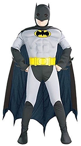 Super DC Heroes Deluxe Muscle Chest The Batman Child's Costume, Medium (Super Villain Costumes For Men)