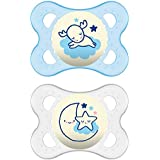 """MAM Glow In the Dark Pacifiers, Baby Pacifier 0-6 Months, Best Pacifier for Breastfed Babies, """"Night"""" Design Collection, Boy, 2-Count"""