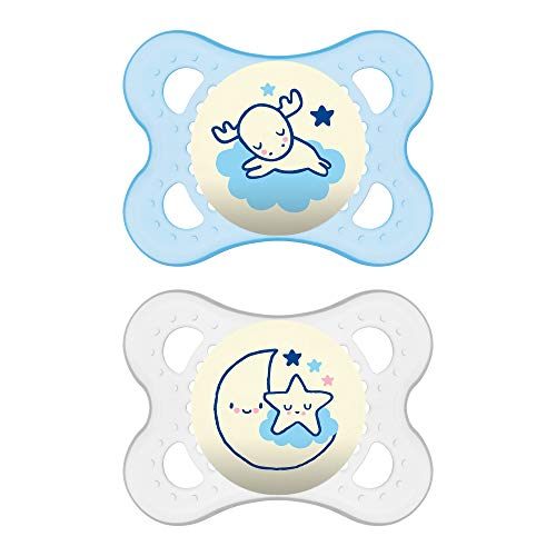 "MAM Glow In the Dark Pacifiers, Baby Pacifier 0-6 Months, Best Pacifier for Breastfed Babies, ""Night"" Design Collection, Boy, 2-Count"