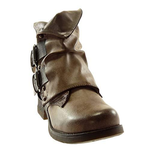 Schlangenhaut Khaki Blockabsatz Besetzt cm Schleife Stiefeletten 5 Stil 3 Damen Vintage Classic Schuhe Biker Angkorly Nieten ZSwBxaq8g