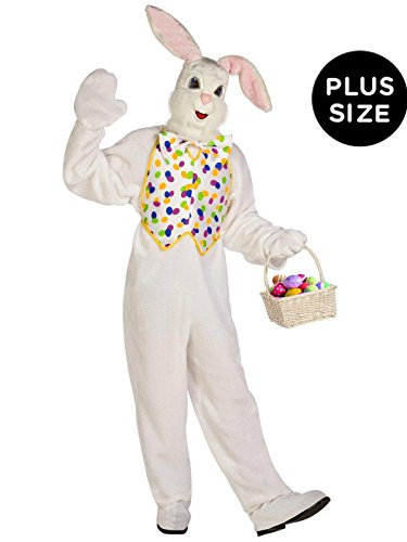 Palamon - Deluxe Easter Bunny Adult Plus Costume - Plus - White (Easter Egg Costumes For Adults)