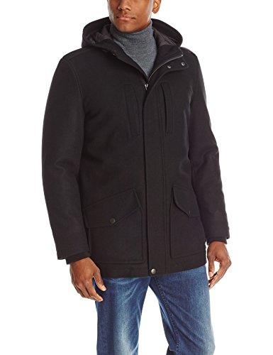 Tommy Hilfiger Men's Melton Wool-Blend Full-Length Hooded Jacket