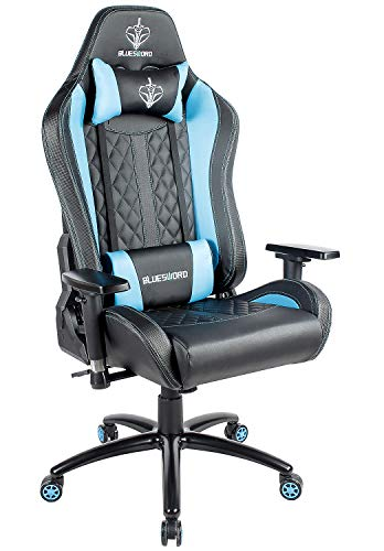 Cheap BLUE SWORD Deluxe Adjustable Gaming Chair with Headrest and Lumbar Support for Gaming Room, Home, Office, Carbon Fiber Cover, Light Blue