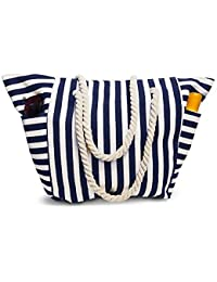 Beach Bag Canvas Pool Tote With Waterproof Inside Lining - Outside Pockets for Bottles from Moskus Gear - Inc Bonus item