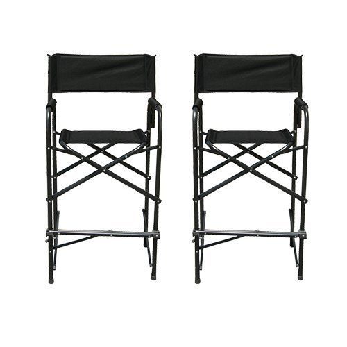 Impact Canopy Tall Director's Chair, Folding Heavy-Duty Aluminum Frame, 47 Inches, Black, Set of 2 (Renewed)
