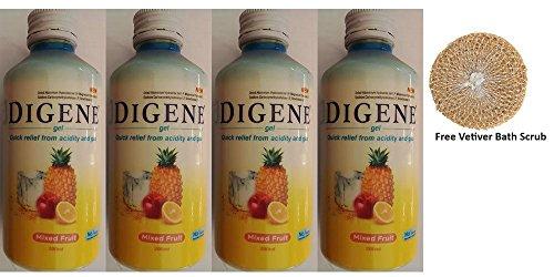 4 x Digene Gel - Mixed Fruit Flavour 200ml + Free Vetiver Bath Scrub