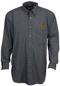 NCAA Wichita State Shockers Men's Long Sleeve Button Down Woven Shirt, 4X-Large, Black/White