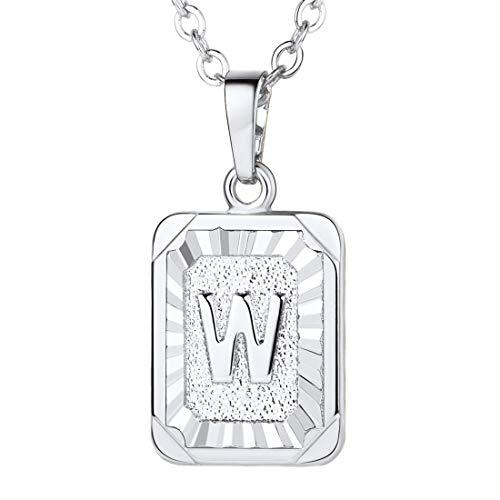 U7 A-Z 26 Letters Pendant Men Womens Fashion Jewelry Platinum Plated Square Pendants Capital Initial Necklace (W)