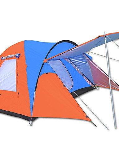 HIIY Zelt ( Blau/Orange , 3-4 Personen ) - Wasserdicht/Atmungsaktivität/Regendicht/Winddicht/warm halten/Extraleicht(UL)