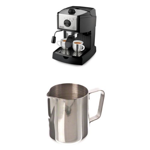 De'Longhi EC155 15 BAR Pump Espresso and Cappuccino Maker and Update International Stainless Steel Frothing Pitcher Bundle