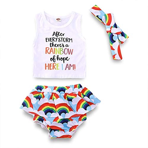 Toddler Baby Girls Rainbow Outfits Sleeveless White Vest Top+Ruffled Bloomers Shorts Summer Clothes with Headband (0-6 Months, Rainbow Shorts)