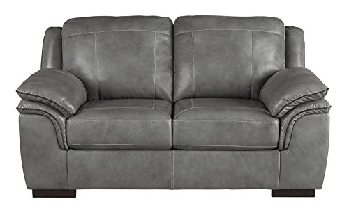 Ashley Furniture Signature Design - Islebrook Contemporary Leather Loveseat - Iron