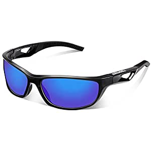 Tsafrer Unisex Polarized Sports Sunglasses for Men Women Cycling Driving Running Golf Tr90 Frame