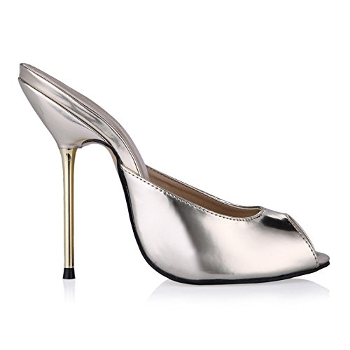 Female sandals banquet fish tip women shoes large silver high-heel shoes Light gold mirror bkWZ3
