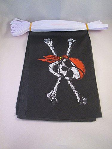 Bandera con Calavera 15 x 21 cm BANDERINES AZ FLAG Guirnalda 6 Metros 20 Banderas Pirata con Bandana Rojo 21x15cm
