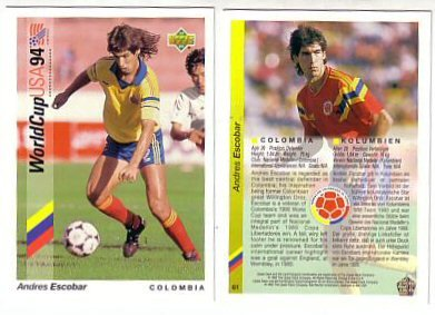 ANDRES ESCOBAR (Murdered Colombian Player) 1994 Upper Deck World Cup Soccer Card. RARE!
