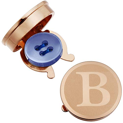 HAWSON Rose Gold Letter Button Cover Cufflinks for Men Initial and Impressing Alphabet A-Z - Best Choice for Weddling Gift B