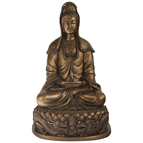 Buddha Groove Bronze Colored Kuan Yin and Dragons Statue, 22 Inches