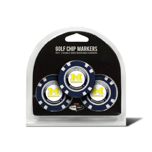 (Team Golf NCAA Michigan Wolverines Golf Chip Ball Markers (3 Count), Poker Chip Size with Pop Out Smaller Double-Sided Enamel Markers)