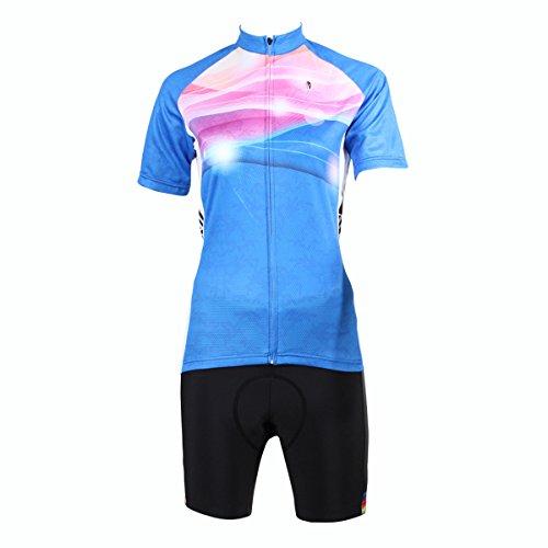 出発厚さ救援[ILPALADINO] #209 高品質サイクル女性用 短袖 3Dパッド付き短ズボン パンツ 上下セット cycling clothes サイクリングジャージ コンプレッションウェアMTB レーサー