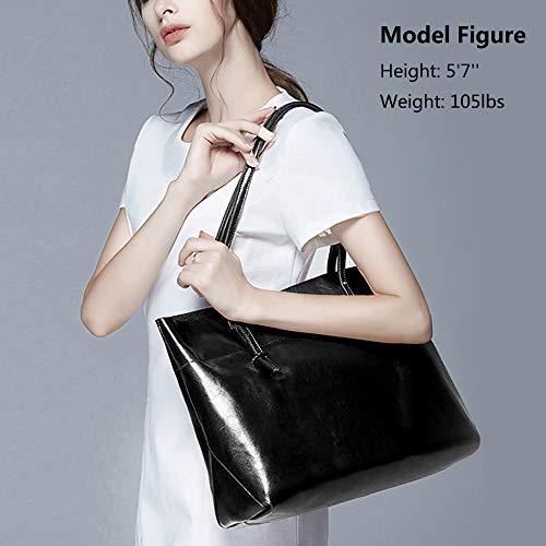 S-ZONE Women Vintage Genuine Leather Tote Shoulder Bag Handbag Upgraded Version