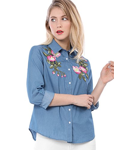 Allegra K Women's Floral Embroidered Applique Button Down Chambray Shirt M Blue ()