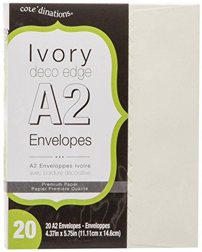 Darice A2 Envelopes with Deco Flap (Pack of 20), Ivory