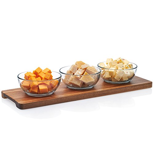 18in Condiment Server - Libbey Acaciawood Glass Condiment Dish Set with Wood Serving Board, 3-14.7 ounce Glass Bowls & 1-18 inch Wood Serving Board