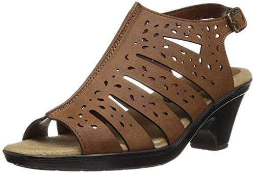 Comfort Wave (Easy Street Women's Kamber Heeled Sandal, Dark Tan, 8 N US)